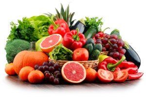 Composition with variety of fresh vegetables and fruits. Detox diet.